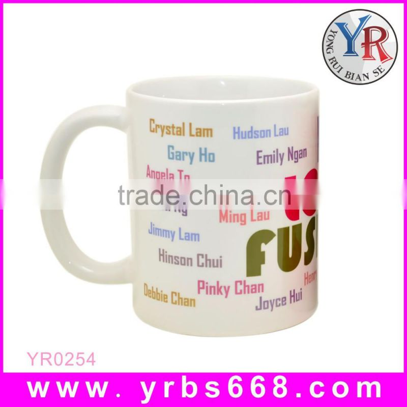 Customized logo branded ceramic sublimation decoration mug