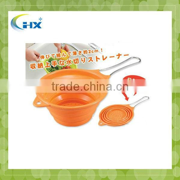MA-117 2013 silicone kitchenware collapsible colander