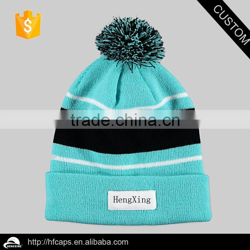 Cheap Fold Up Custom Pom Pom Winter Men's Beanie Hat / Beanie Hat With Embroidery And Jacquard Logo