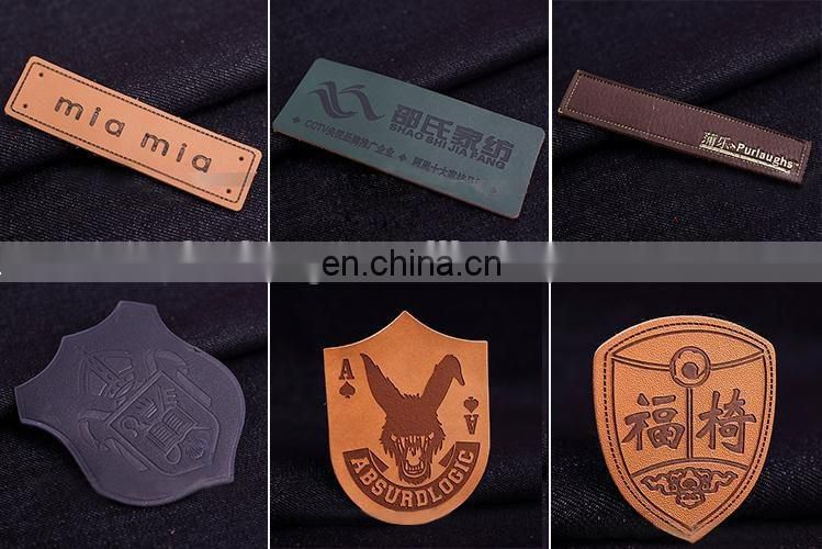 Customized fashion iron on leather patch