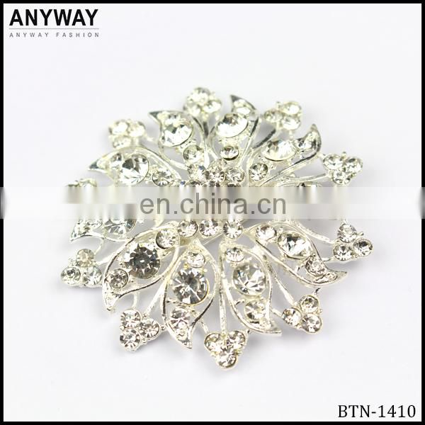Silver color bling small snowflake rhinestone buckle for wedding invitations