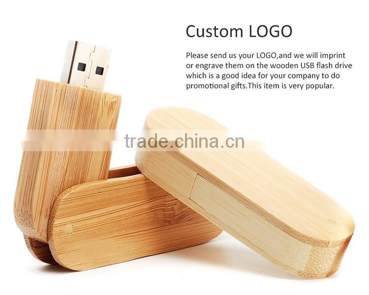 Wood Twist USB memory stick , Promotional Swivel USB Flash Drive with Custiomized Logo