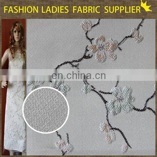 Onway Textile 2015 fashion woven 100% deyed rayon floral design jacquard fabric
