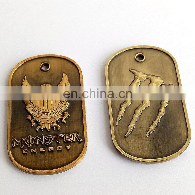 hot sale and promotional gift antique gold die casting double design militaty dog tag