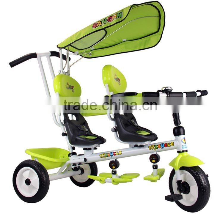 bt-016021D kids tricycle New design children multifunctional double seats ride on twin tricycle and baby stroller