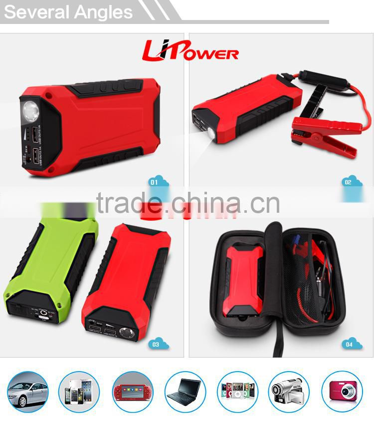 12000mAh multifunction car jump starter with safety hammer high quality car battery lipo battery with intelligent clamps