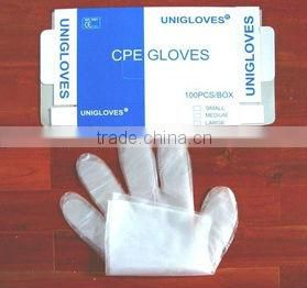PE long gloves /red cheap gloves