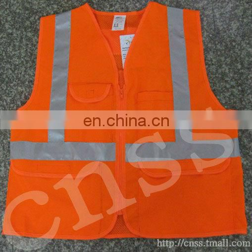 Red mesh fabric high visibility reflective safety vest