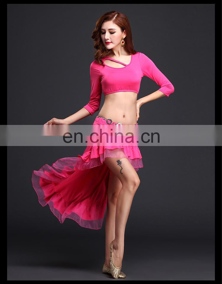 S-3086 Soft milk silk spacial design half sleeve cropped belly dance top