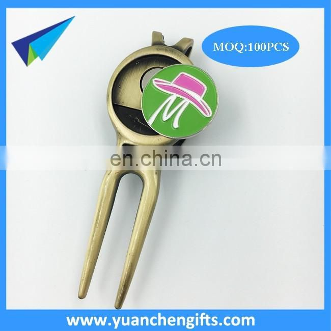 Zinc alloy golf divot too,brass plated repair divot too,custom logo golf ball marker