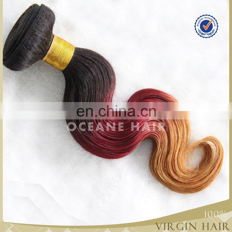 New Products Top quality 7A aliexpress hair red aliexpress hair red brazilian 3 tone color ombre hair