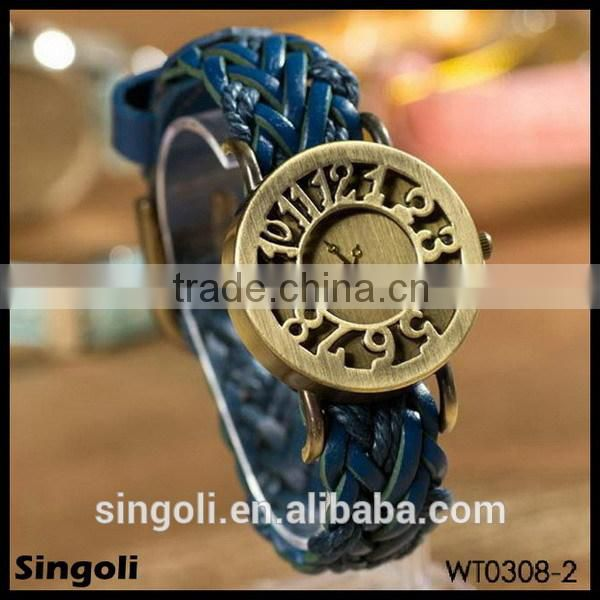 Vintage Hollow Gold Arabic Mumerals London Big Ben Digital Watch Western Wrist Watchs Smart Watch Braid Genuine Leather Watch