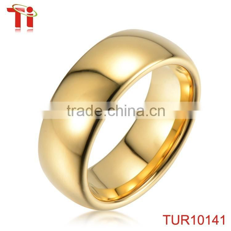 Fashion tungsten rings for men domed gold rings without stones 18k ...