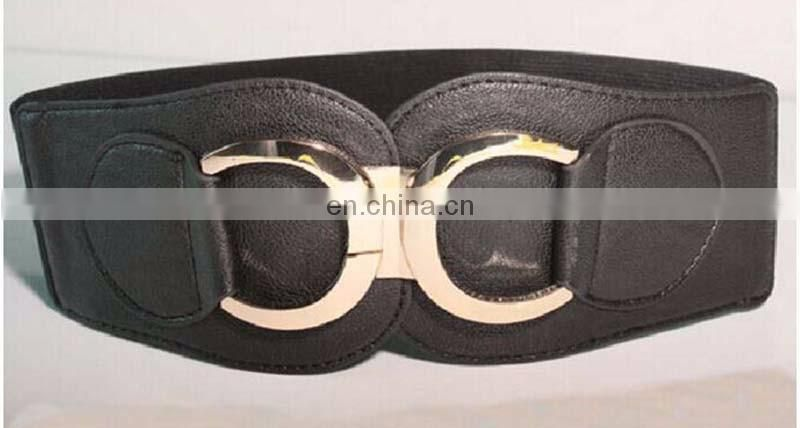 women trendy all match pu leather woven corset belt with round buckle elastic extra wide belt