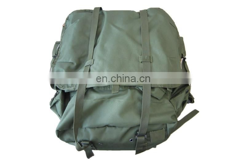 olive green military backpack with frame