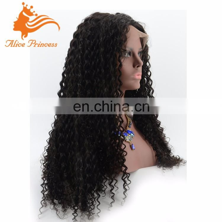 150% Density Glueless Curly Lace Wig Unprocessed Virgin Indian Full Lace Human Hair Black Wig Stand