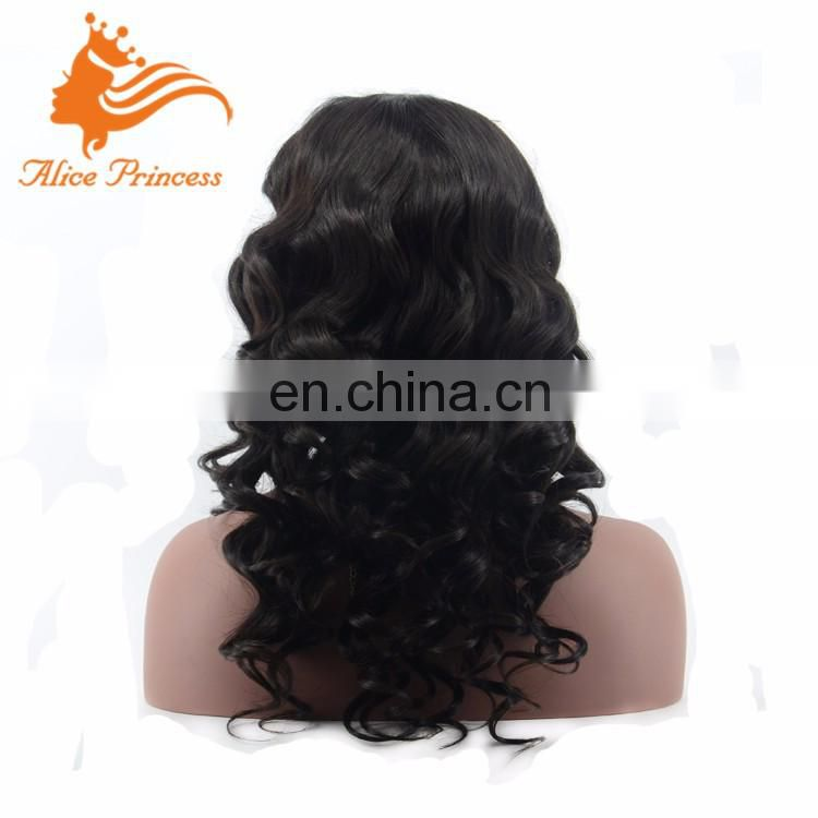 7 Grade Cheap Real Virgin Natural Color Wave Style 100 Percent Remy Brazilian Human Hair Full Lace Wig