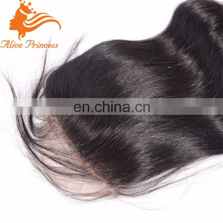Silk Base Closure Brazilian Virgin Human Hair Natural Color Body Wave 4x4 Swiss Lace Closure With Baby Hair In Stock