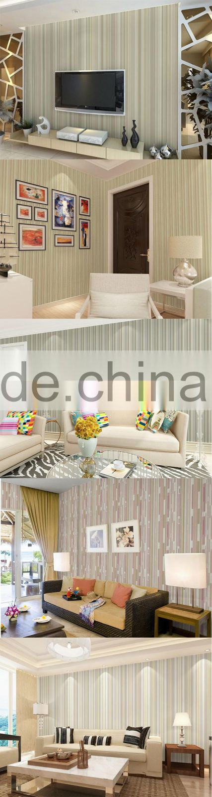Professional Manufacturer Eco-Friendly Classic Stripe Style Style PVC Material Latest Design Wall Papers Home Decor