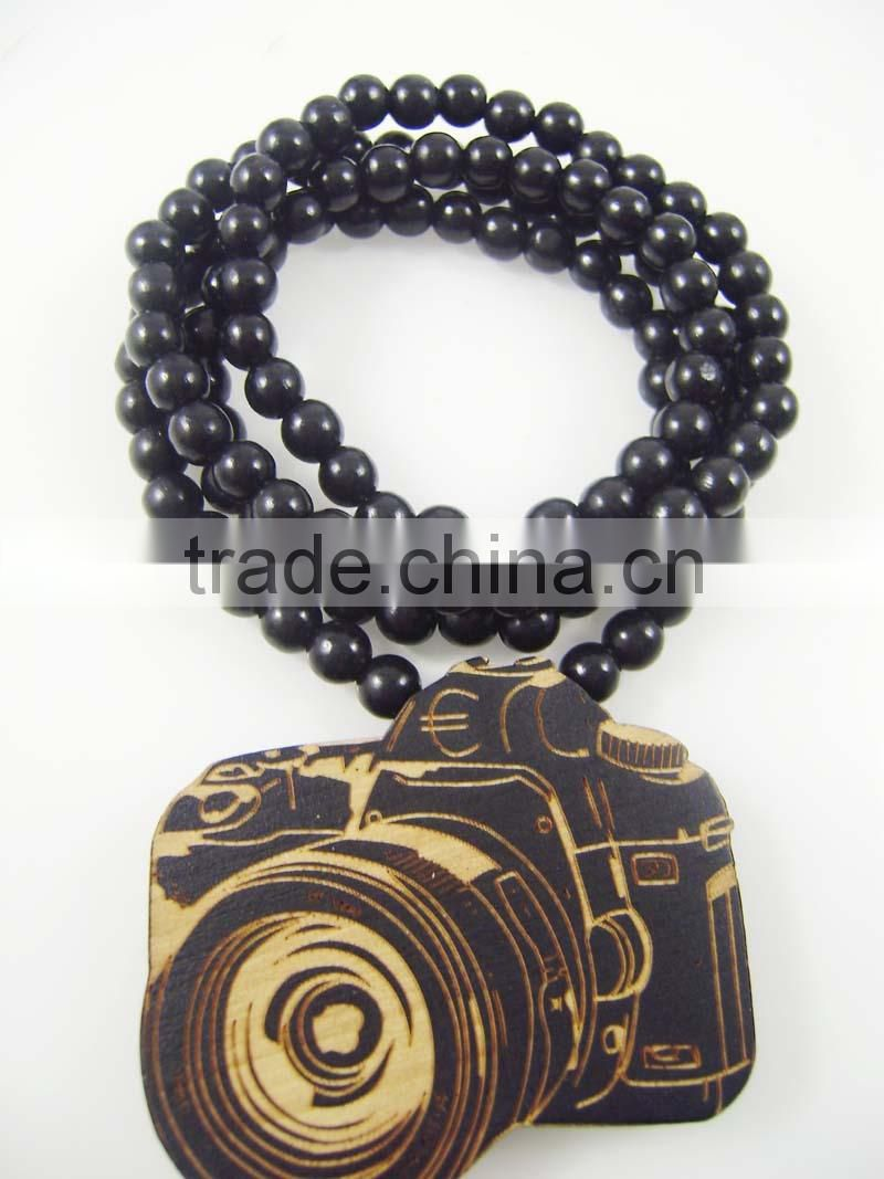 Men's Camera good Pendants Fashion Wood Hip Hop Rosary Chain Beads Necklaces