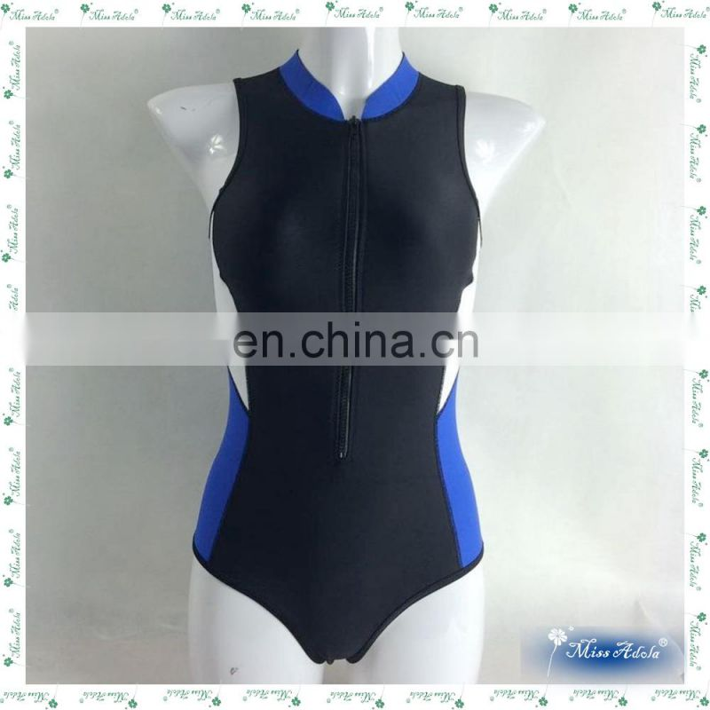MissAdola one piece Neoprene swimwear Rubber Women swimsuit OEM Beautiful tankini Zipper diving wetsuit (CD-DS-OP-14121801A)