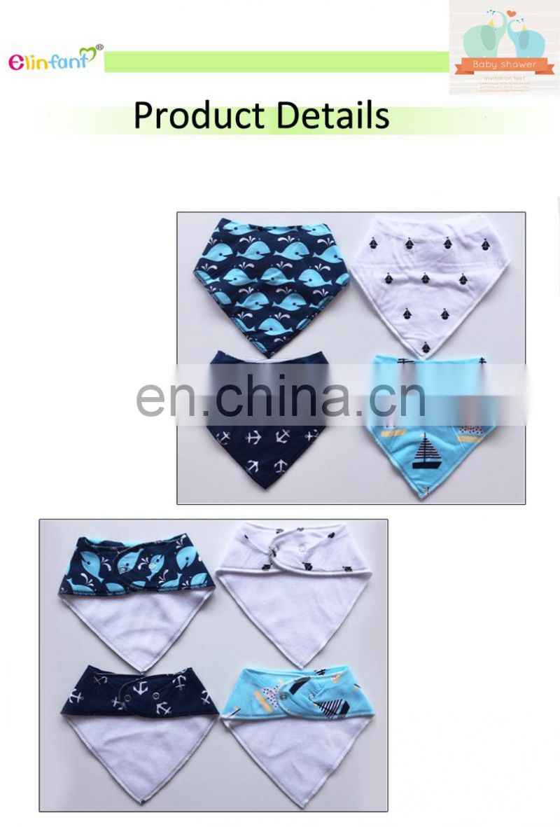 Elinfant Newborn and Baby Shower Gift for Drooling and Teething 6-Pack Drool Bib Set Baby Bandana Bibs