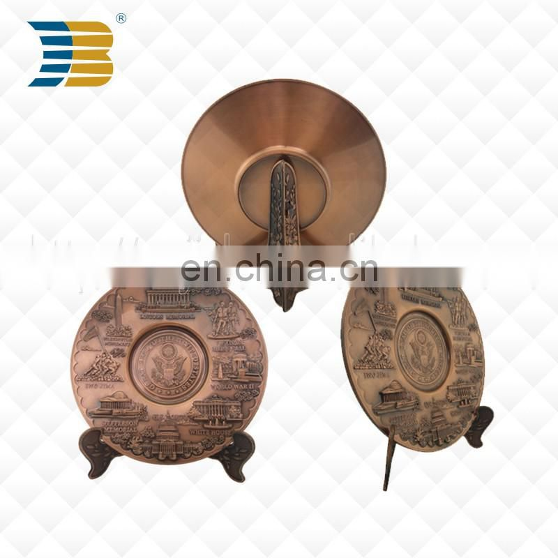 America custom high quality metal brass souvenir plate