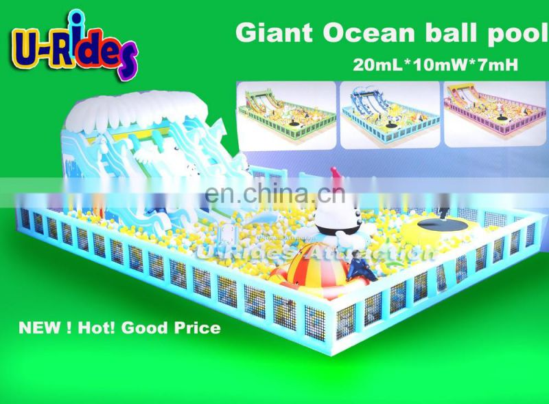 U-Rides White Snow bear Giant Inflatable Ocean ball pool with slides and toys