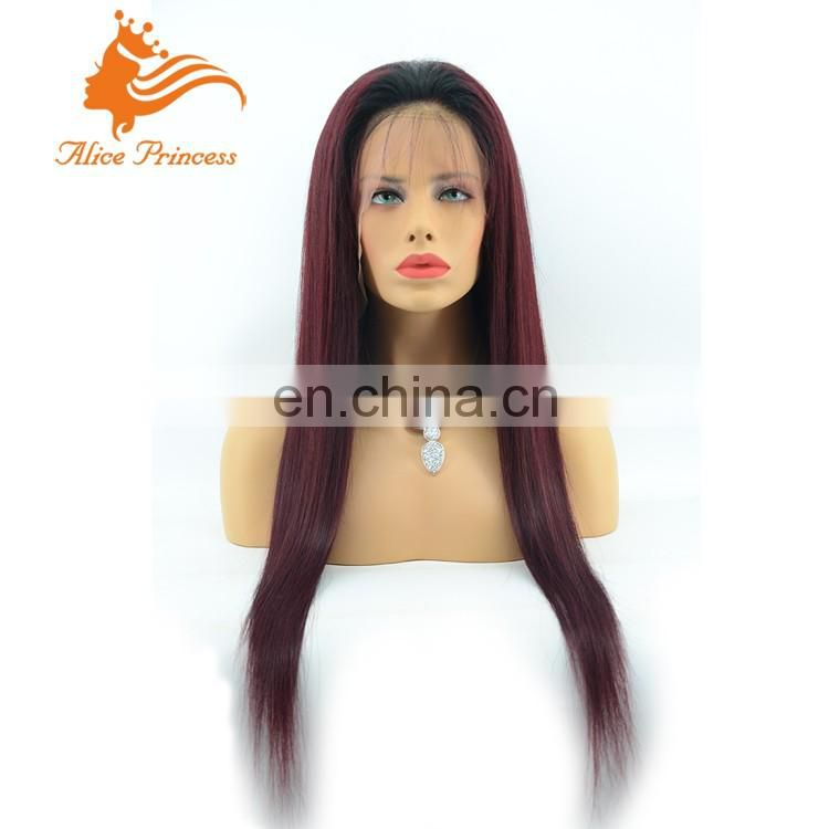 26inch 1B/99j 2Tone Ombre Straight Hair Full Lace Wigs 100% Virgin Brazilian Human Hair