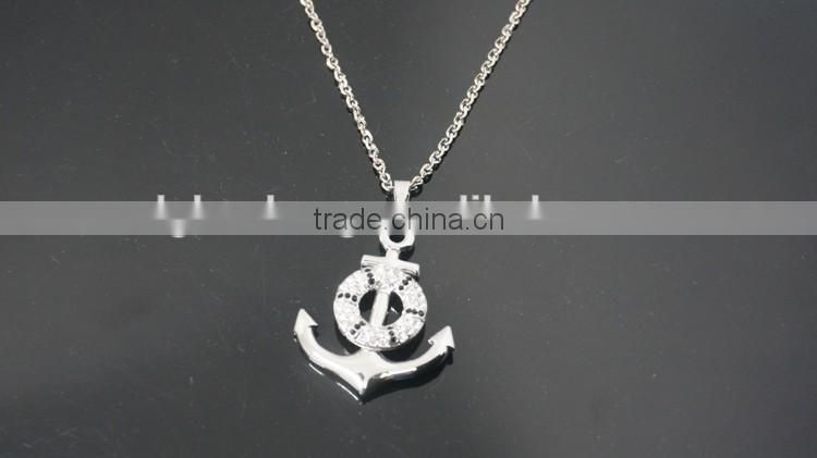 Silver Personalized Anchor and Buoy Pendant Alloy Necklace with rhinestone dots