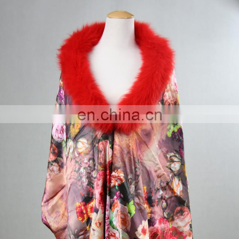 bamboo fiber fox fur women shawl scarf