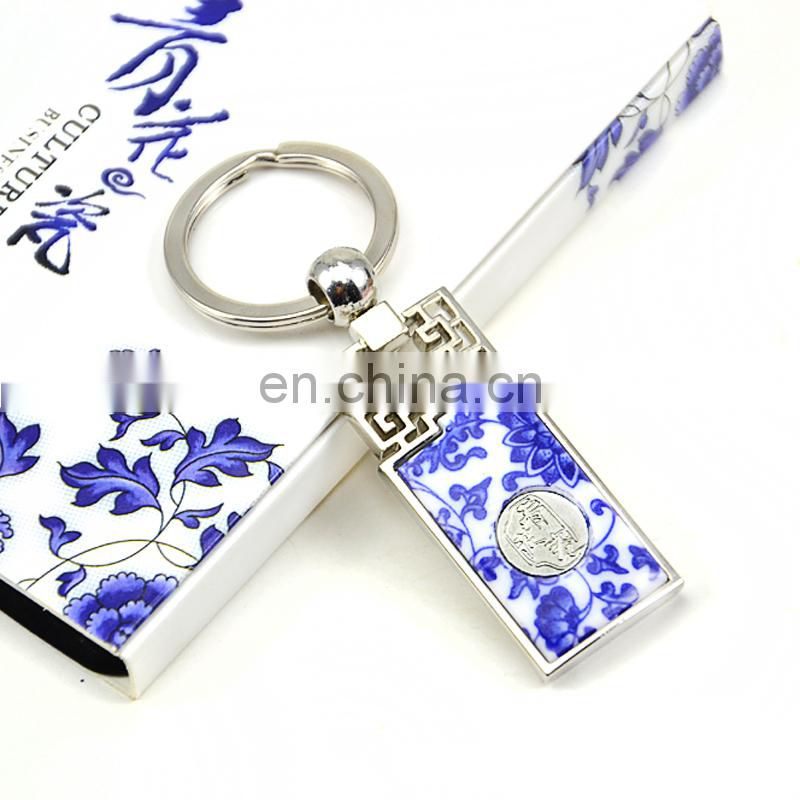 Winho China bule and white porcelain keyring for sales