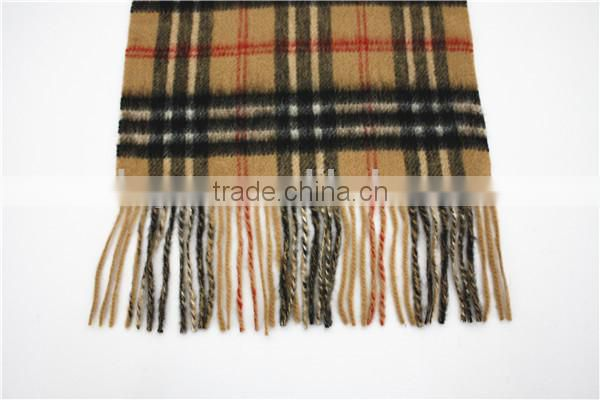 Camel Yarn Dyed Checked Double Faced Plain Wool Scarf with fringe