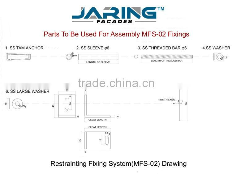 Stainless Steel Grade 304 stone cladding support system