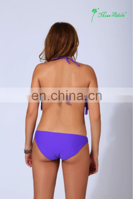 2014 latest purple fashion tassels bandeau shiny sexy beachwear/bikini