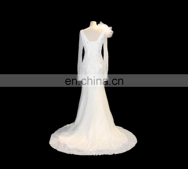 Tiamero European Arabic long sleeve mermaid bridal gown lace wedding dresses with flower on the shoulder