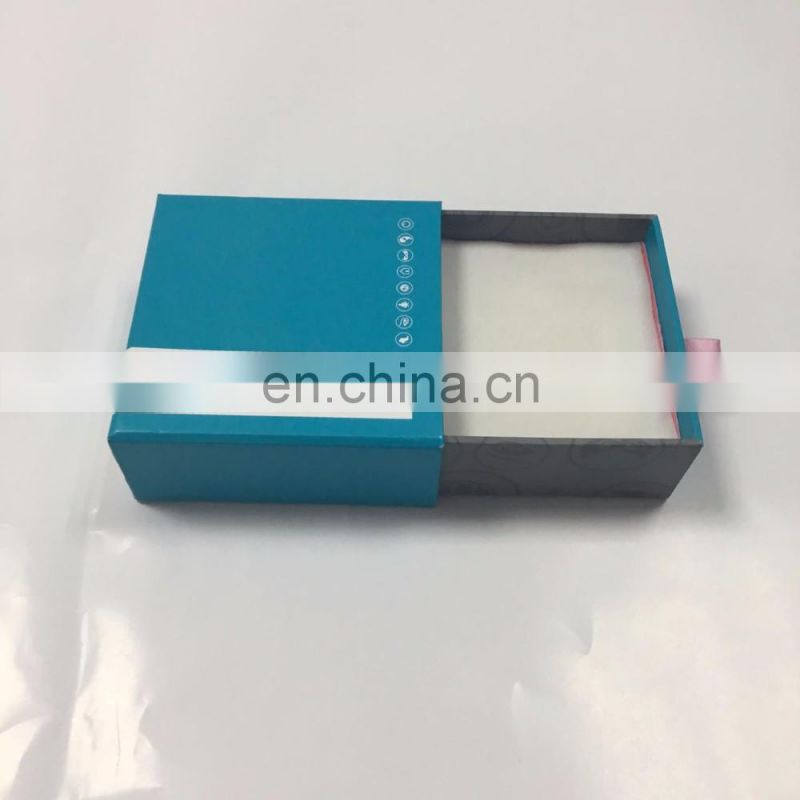 Hot sale slide box with cymk logo printing with foam inside and ribbon hand