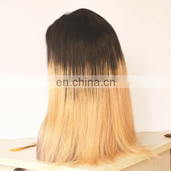 Virgin Indian Hair Accept Paypal Ombre Colour #1b/27 Beauty Human hair Lace Front Wig With Baby Hair