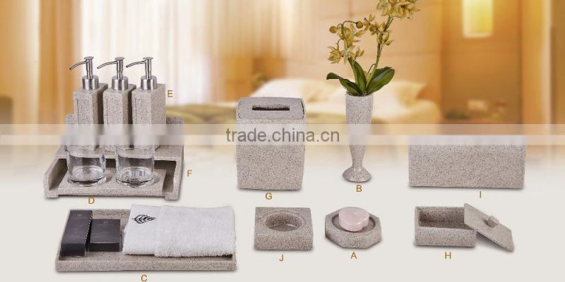 Hotel resin product bathroom accessories resin vase/tissue box/amenity box/towel dish/soap dish customized