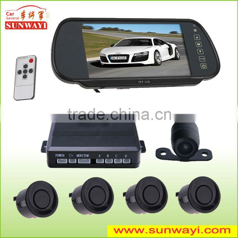"bluetooth&MP5 function 7"" rear view mirror display visual reversing car security camera system with usb"