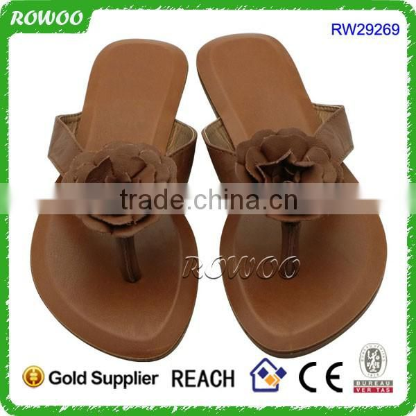 2015 Hot Selling Casual Comfortable flat slipper PU Lady Fashion Sandal