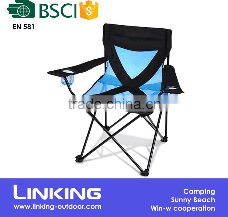 Outdoor folding chair with blue mesh