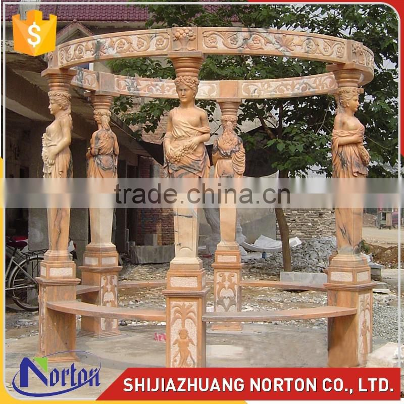 sunset red outdoor round marble gazebo with roof NTMG-293S