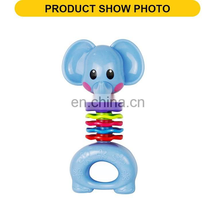 New design plastic elephant feature rattle toys the rock bell