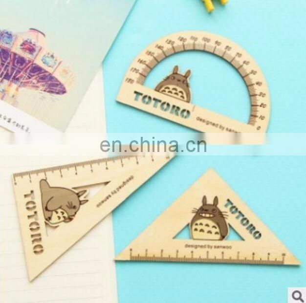 Wood Scale Metric Square Triangle Ruler