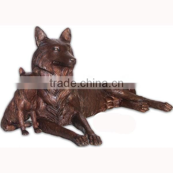 New design wolf and cub brass sculpture for sale NTBA-W003Y