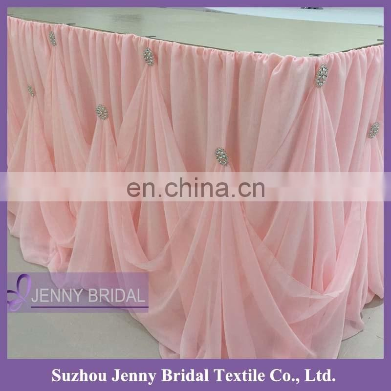 TC106D Chiffon ruffled curly willow table skirt
