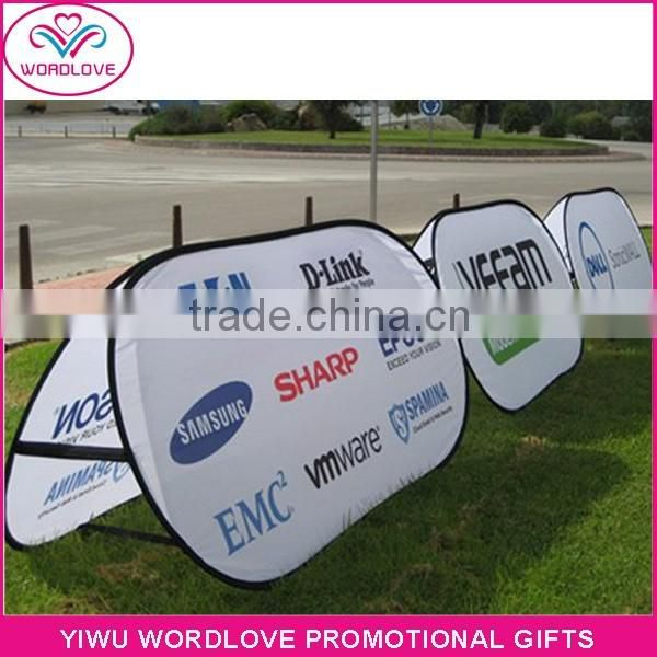 dye sublimation outdoor event pop out banner,custom advertising pop up A frame banner,display folding oval pop out banner