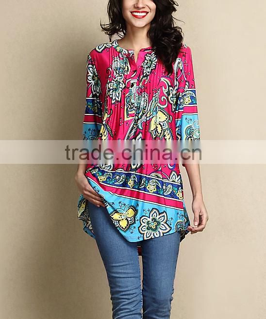Hot Selling Women Outwear With Fuchsia Floral Notch Neck Pin Tuck Tunic Women Tops Women Clothing GD90426-30