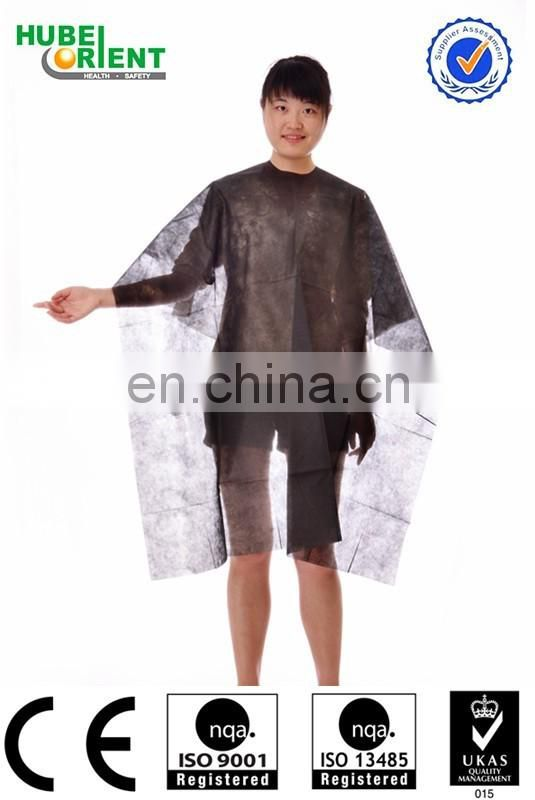 Blue/ White Non-Woven Barbershop Use Hair Dressing Clothes for Single Use